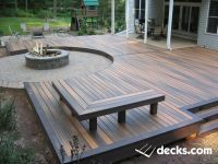 Low profile composite deck surrounding a circular paver ...