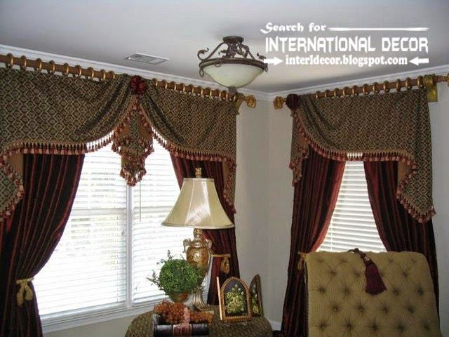 Stylish country curtains for living room in English style - country valances for living room