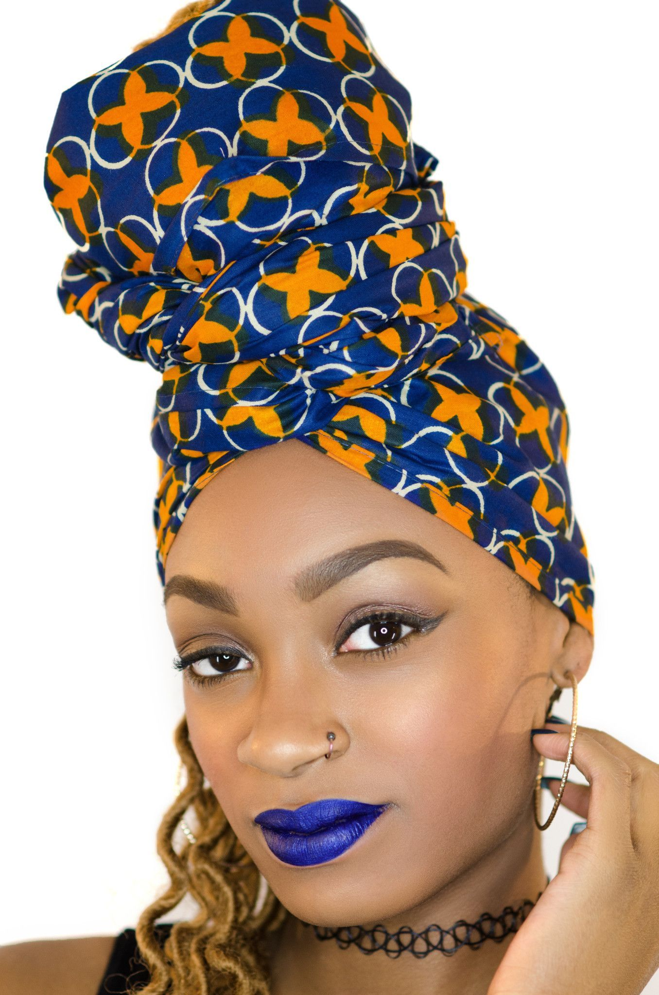 Coiffure Afro Bandeau Blue Goddess Head Wrap Foulard Africain Coiffures Afro