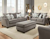 Light Gray Couch Set, Swooping Armrests | Bella Gray Sofa ...