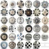Black white grey vintage ceramic knobs drawer pull ...