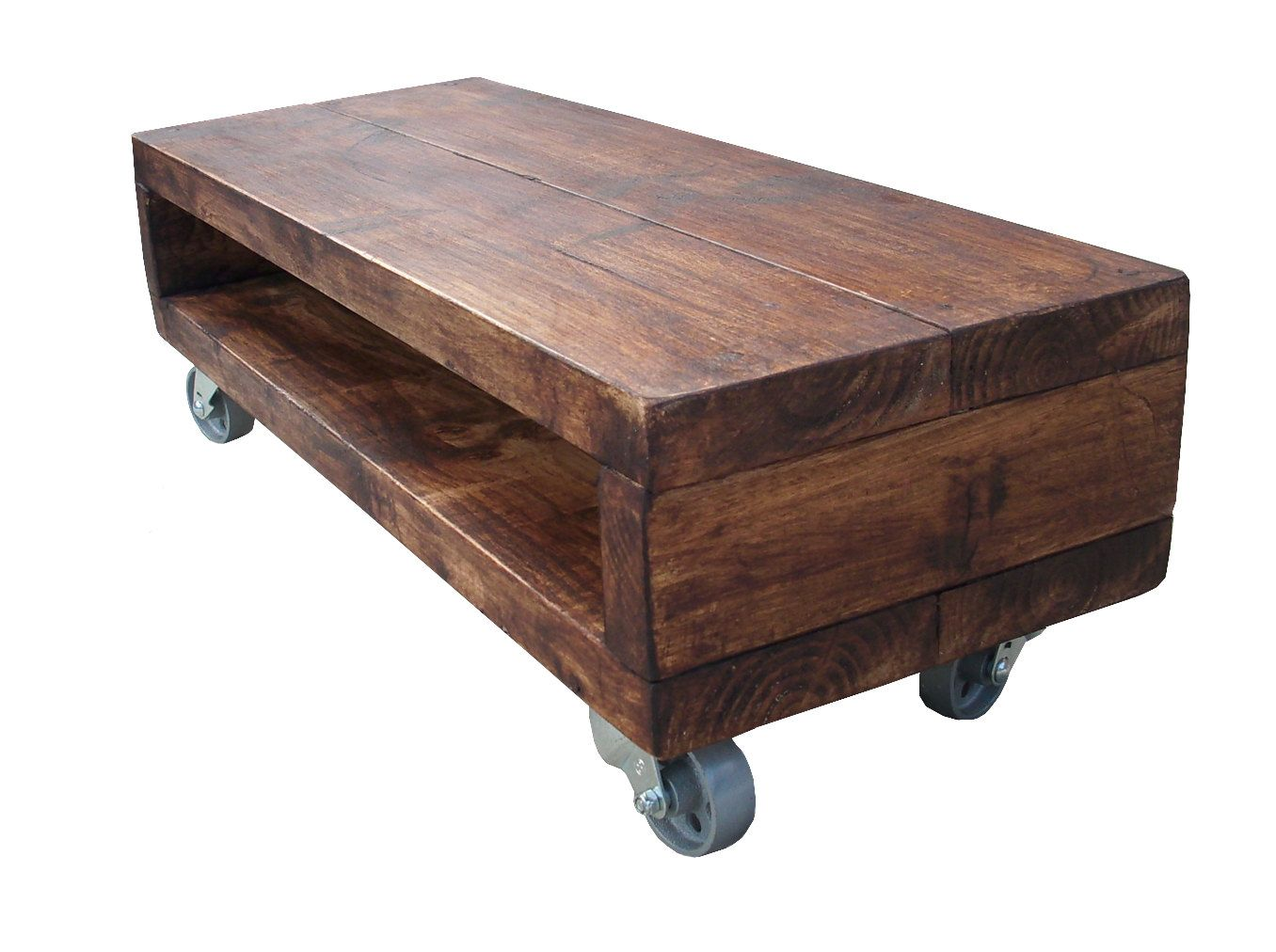 Tv Table Industrial Style Low Tv Stand With Cast Iron Wheels