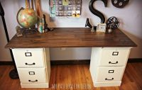 Pottery Barn Inspired Desk Using Goodwill Filing Cabinets ...