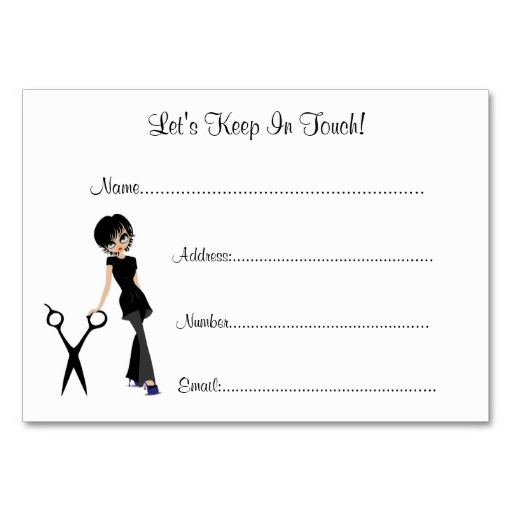 Beauty salon client information cards business card templates - client information form template