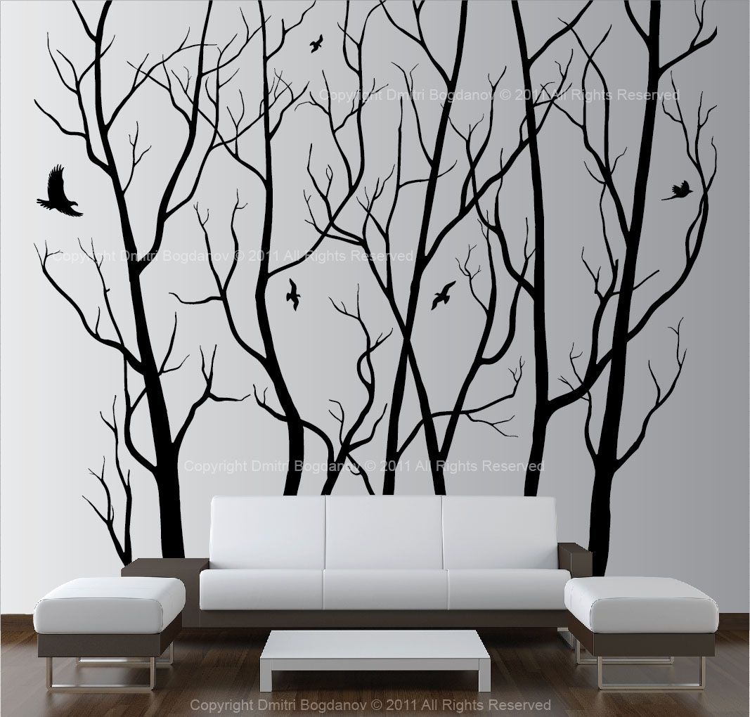 Wall Decorations For Large Walls Large Wall Art Decor Vinyl Tree Forest Decal Sticker