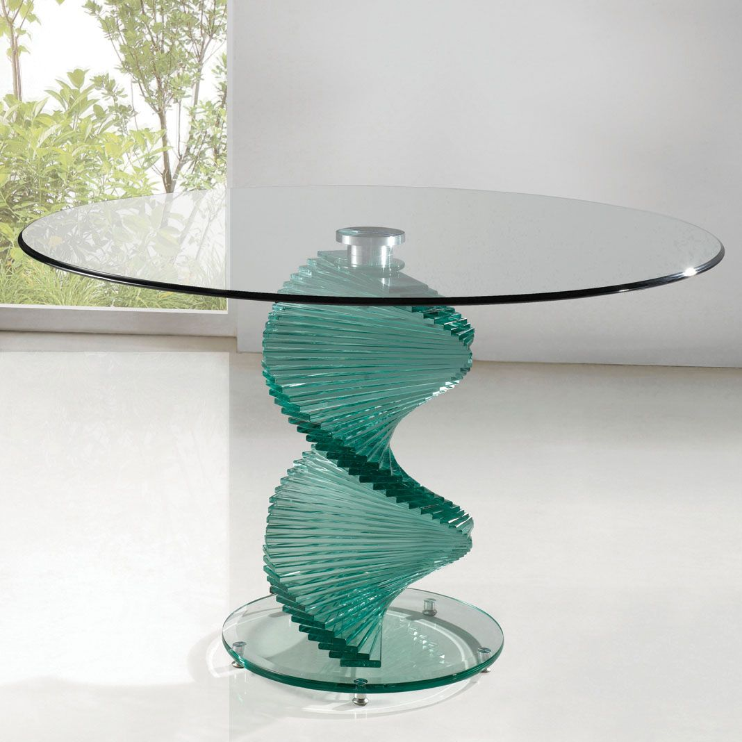 glass round kitchen table Twirl Dining Table Round contemporary design Clear Smoked Glass Top