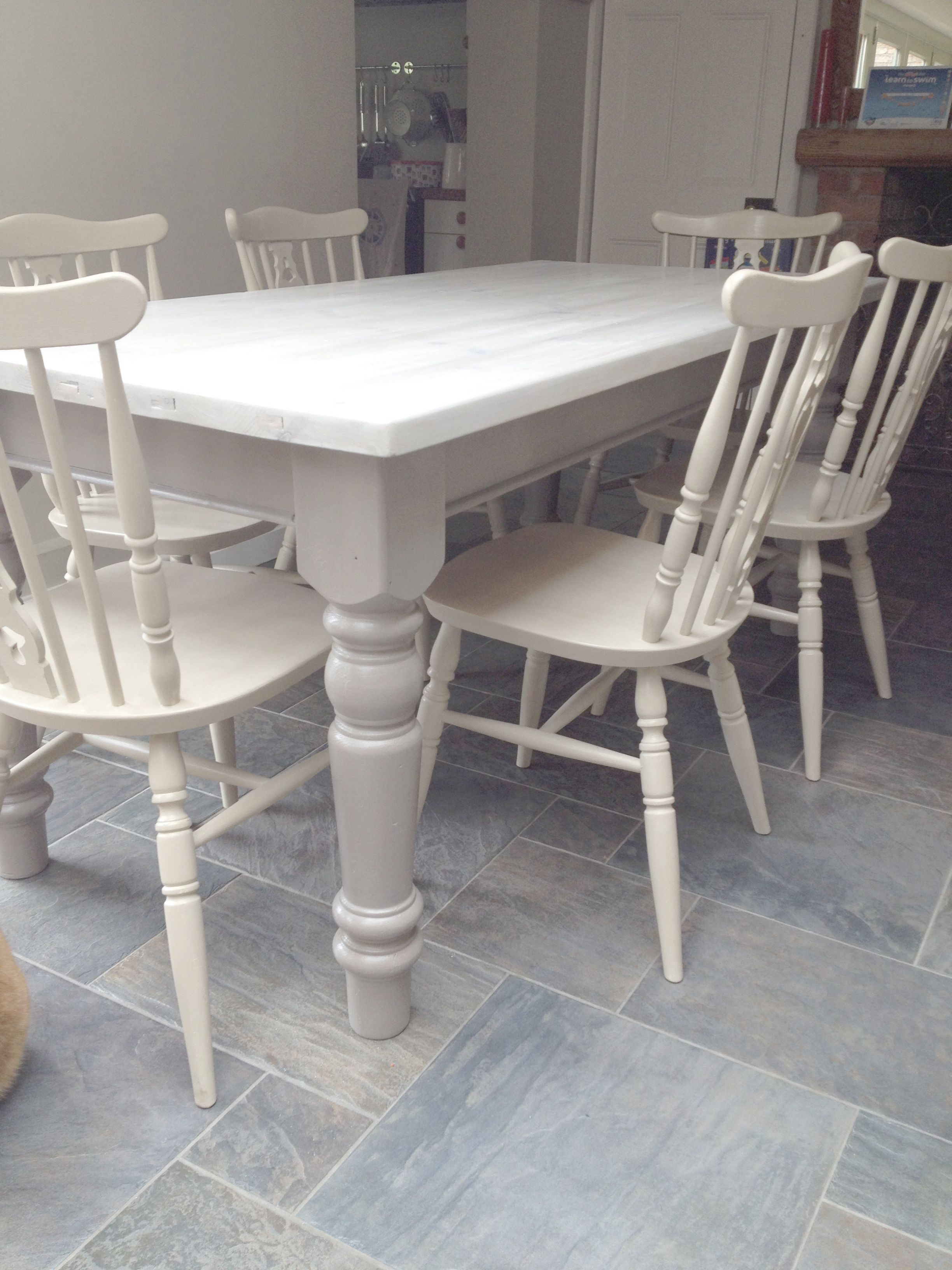 white kitchen table Dining chairs given a 2 colour distress using Annie Sloan Cream over Country Grey Dining