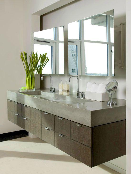 Double Bathroom Vanities Trough sink, Floating vanity and Countertop - designer bathroom vanities