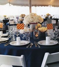 Nautical wedding table setting. Not a fan of the ...