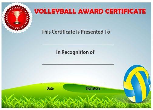 Volleyball award certificate template Volleyball certificates - award certificate template