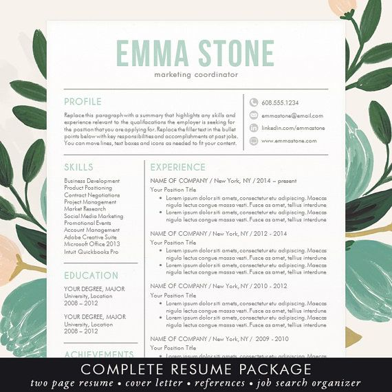 Beautiful, Modern and Unique Professional Resume \/ CV Template for - resume templates word free