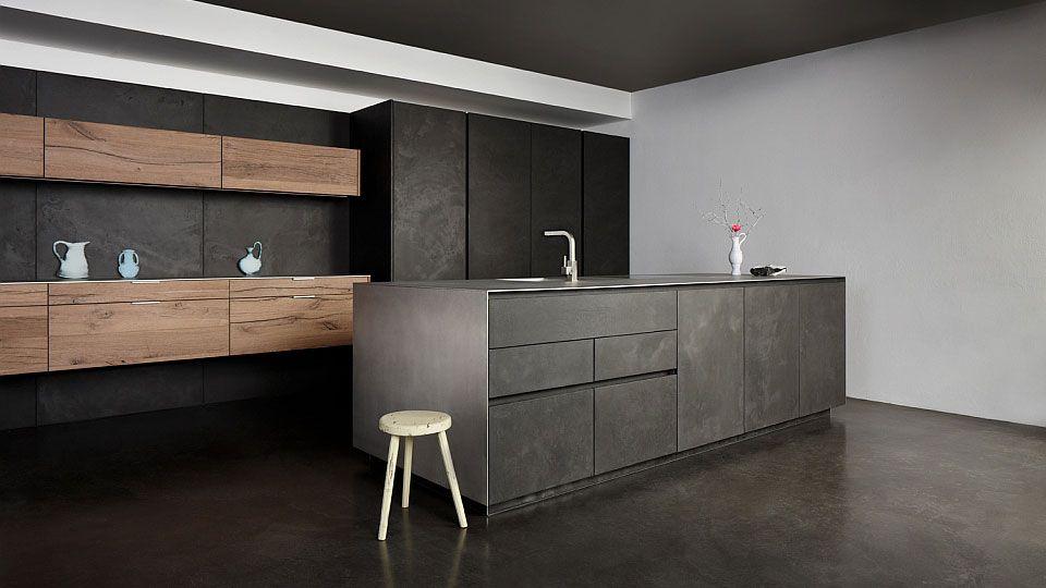 Küchenmöbel Küche Beton Altholz Von Eggersmann Boden   Marmor Kuche Mit Beton  Wand Minimalistisch Design