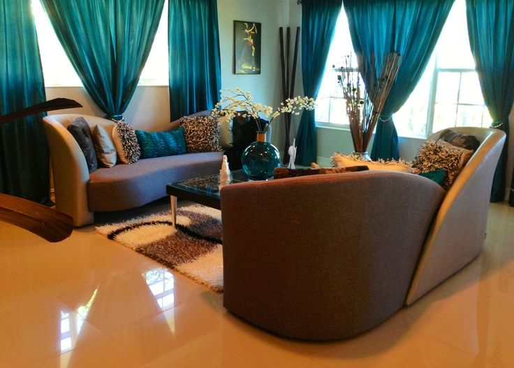 teal and brown living room - Google Search Home is Where the - teal living room curtains