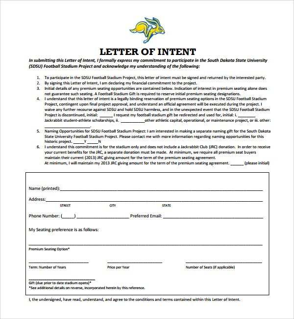National Letter of Intent Football,letter of intent template india - sample letters of intent