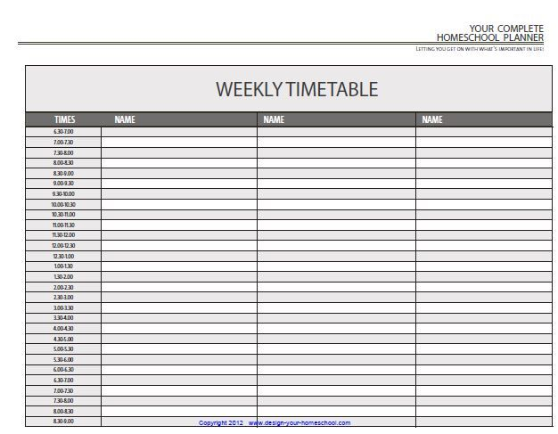 Homeschool Planner - a daily timetable template; more layouts - daily timetable