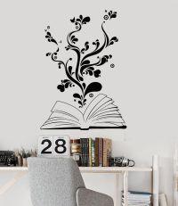 Vinyl Wall Decal Book Bookworm Library Bookstore School ...