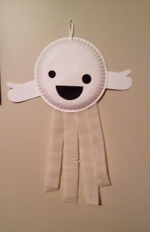 Paper Plate Ghost Preschool Halloween Craft Completed