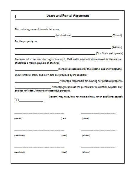 Printable Sample Rent Lease Agreement Form Real Estate Forms - free rental agreement template