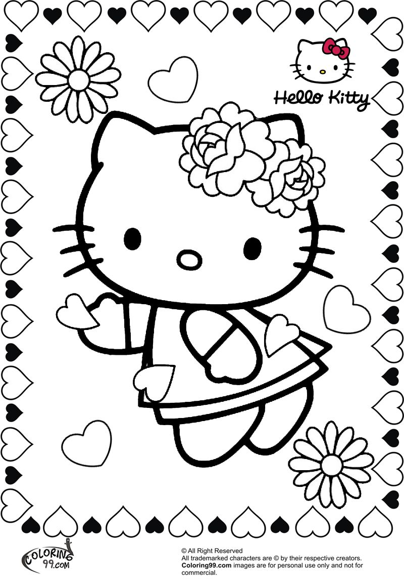 Hello kitty valentine coloring pages coloring99 com