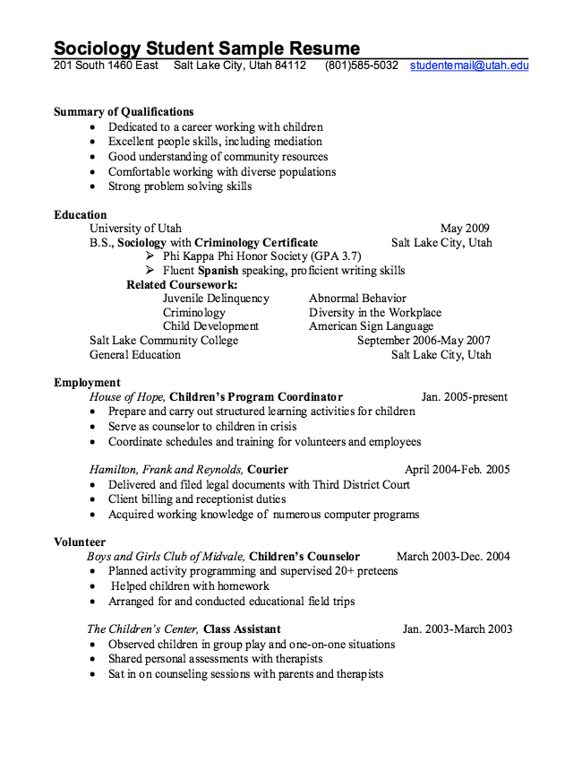 sociology student resume template