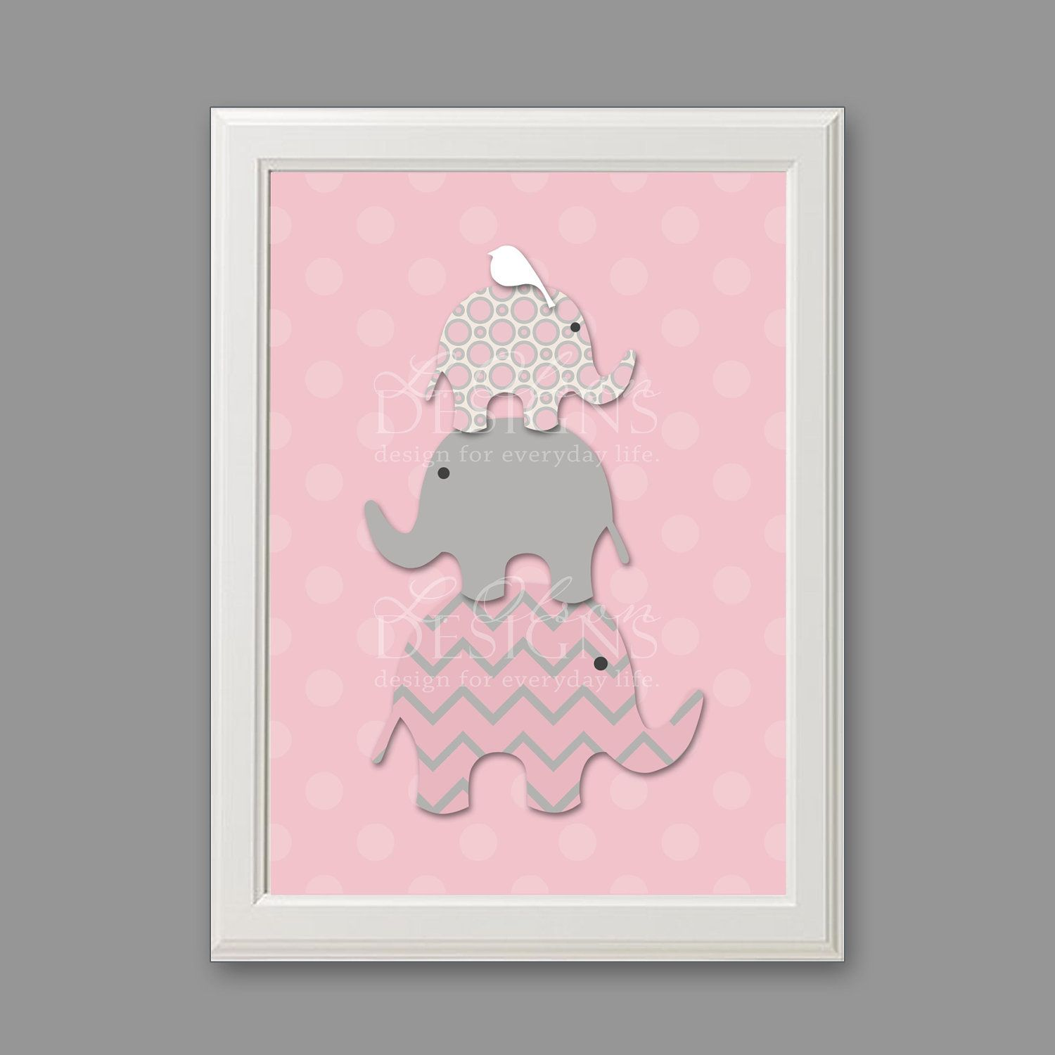 Stacked elephants custom nursery art 8x10 digital print