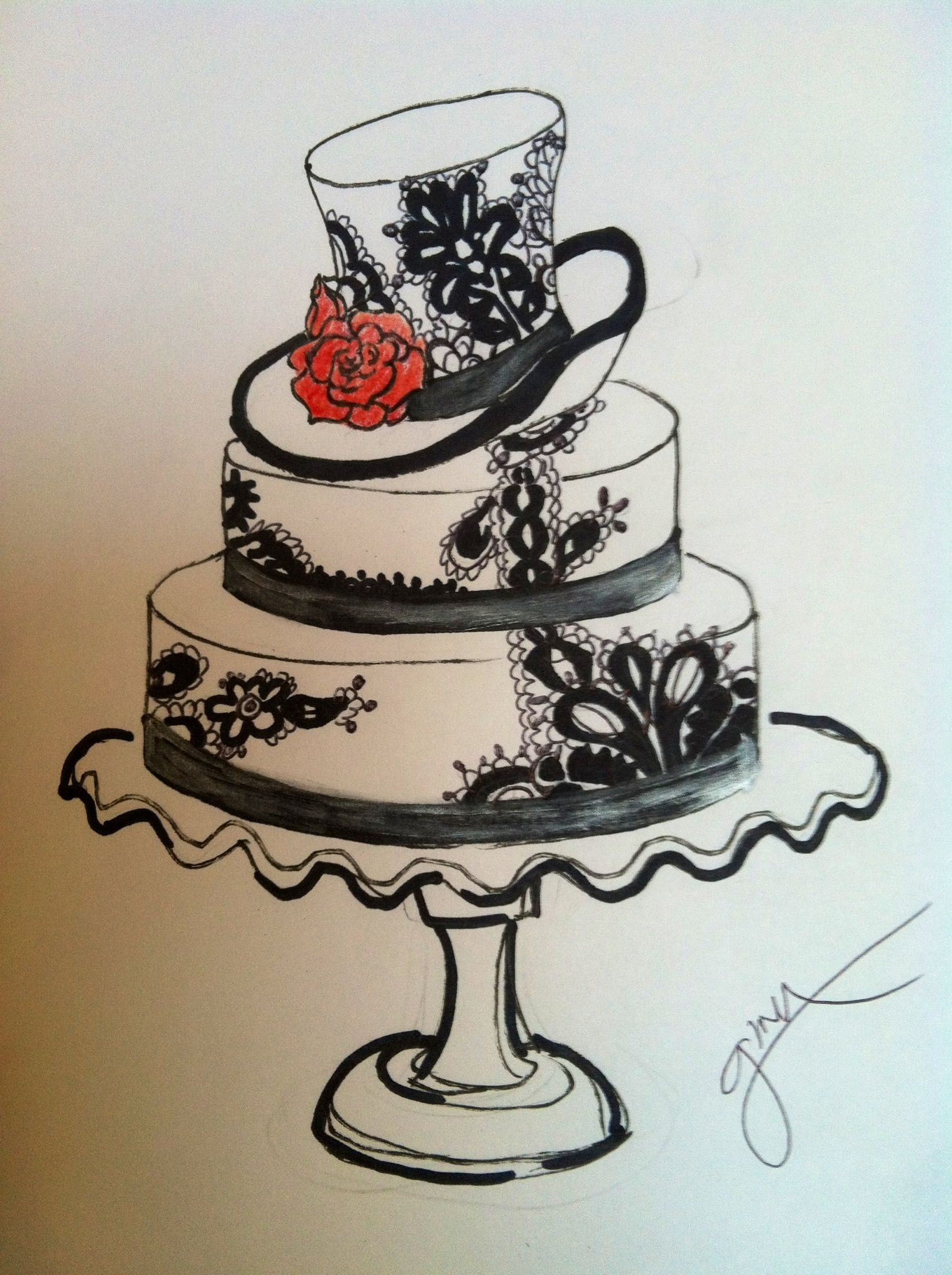 Drawing Cake Colour Black And White Wedding Cake Sketch Black And White