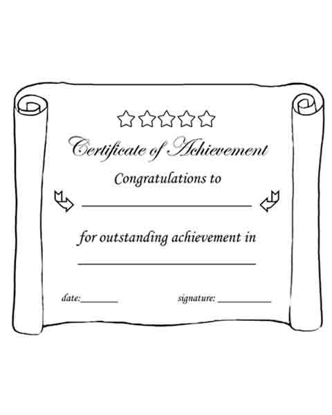 Certificate of Achievement Printable Black \ white worksheets - printable congratulations certificate