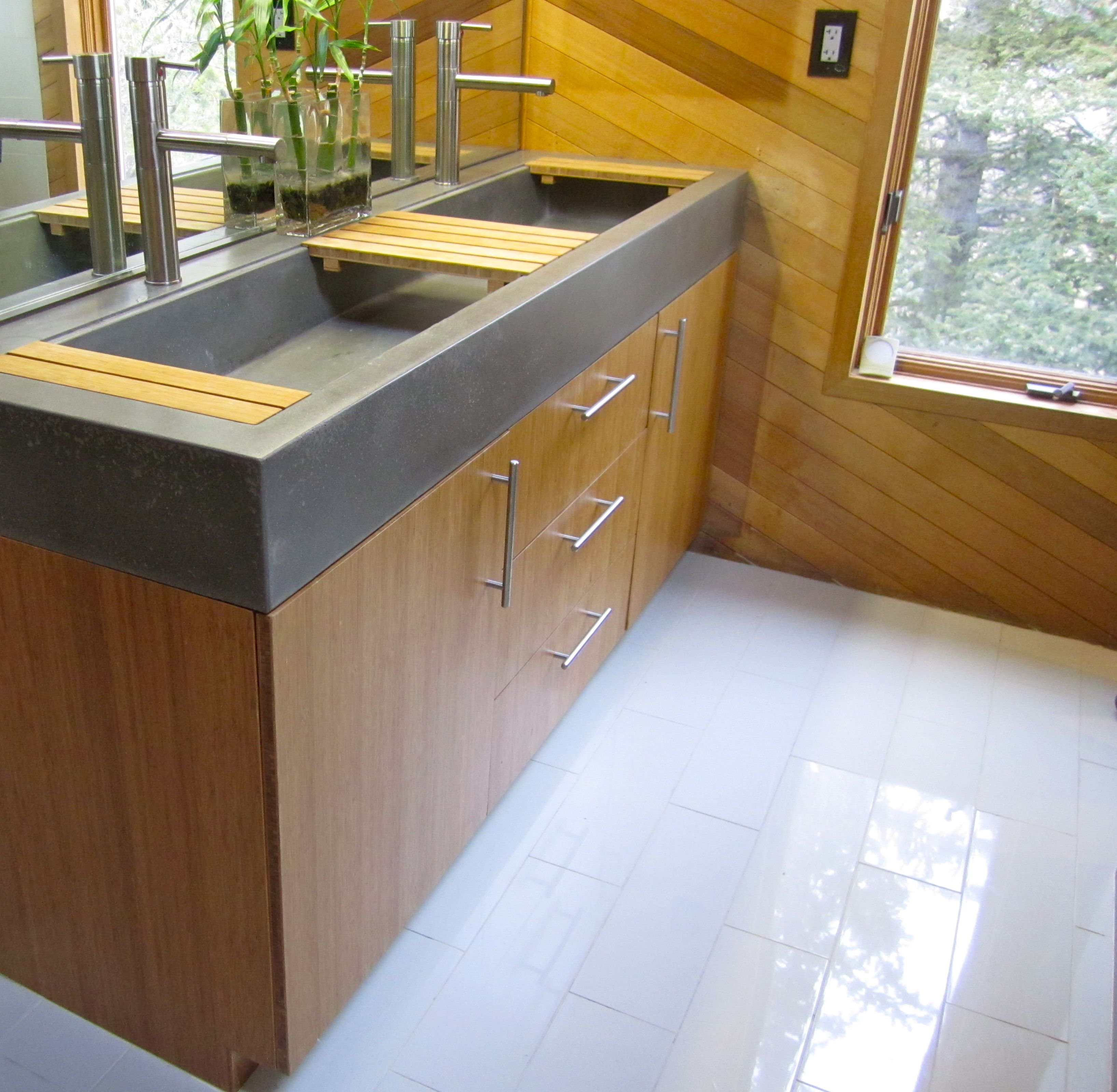 Bamboo vanity with concrete troff i e trough sink and bamboo countertop kjs