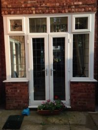 UPVC White French Doors and Bay Windows inc top windows on ...