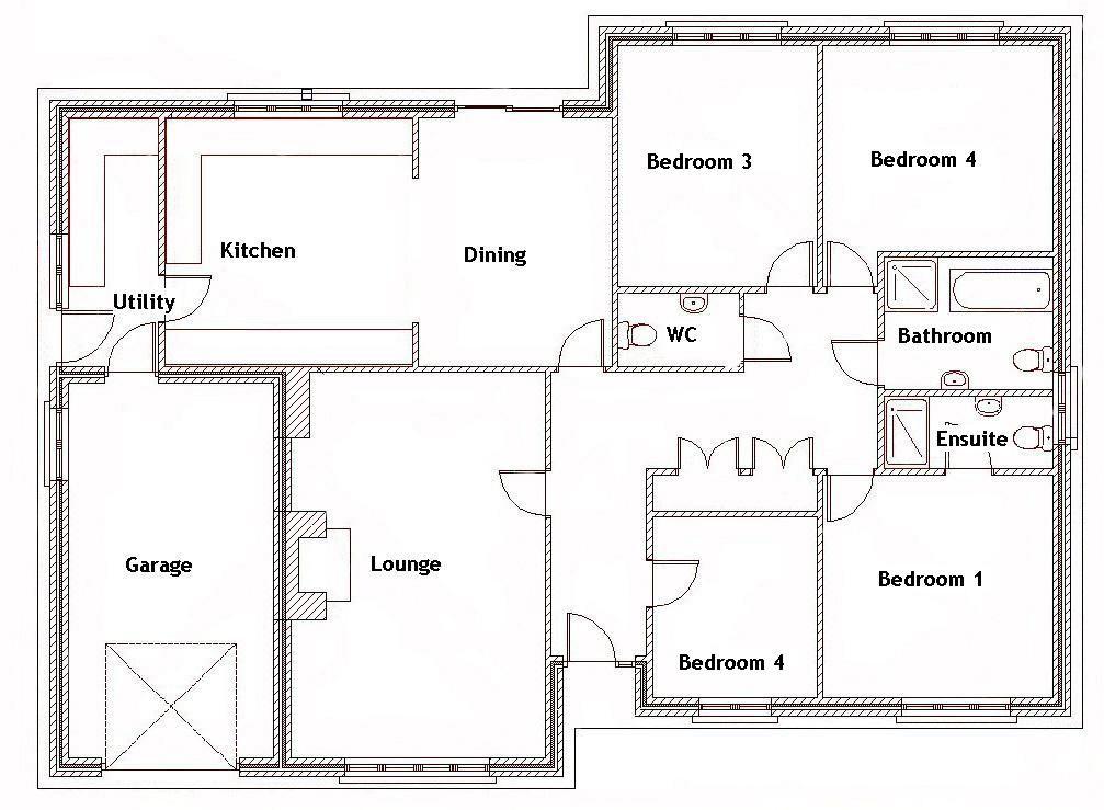 4 bedroom house plans bungalow design ideas 2017-2018 - bungalow floor plans