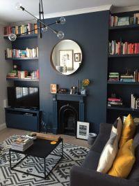 Dark blue living room. Styled dark using Farrow & Ball's ...