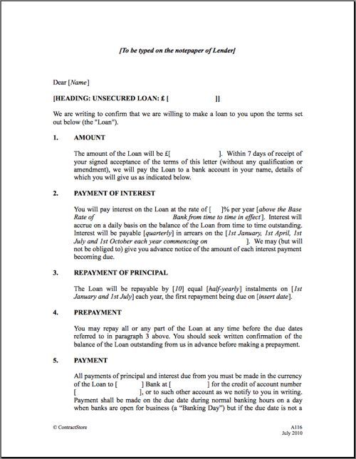 Business Agreement Form Sample Loan Agreement Form Business - mortgage contract template