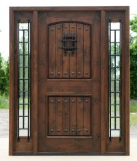 Rustic Exterior doors in Walnut Finish Clear Beveled Glass ...
