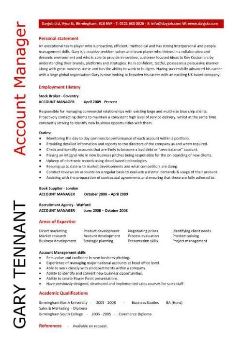 Account manager CV template, sample, job description, resume - assistant manager job description resume