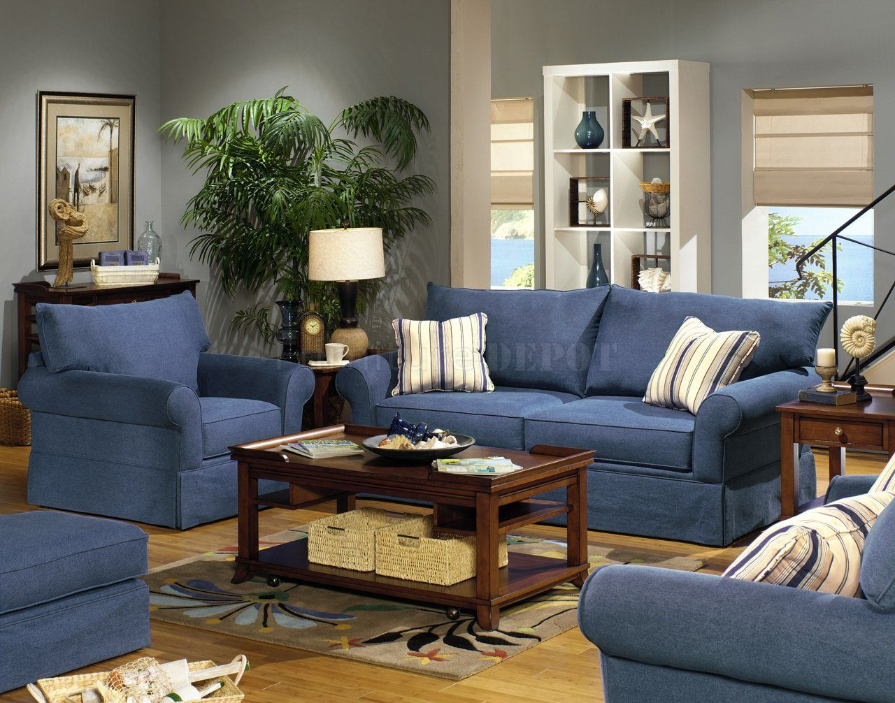 Sofa Set Color Blue Blue Living Room Furniture Sets Blue Denim Fabric Modern