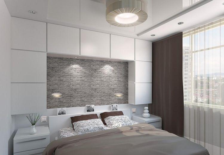 kleines schlafzimmer in Weiß, Grau und Braun - Stauraum über dem - schlafzimmer weis braun modern
