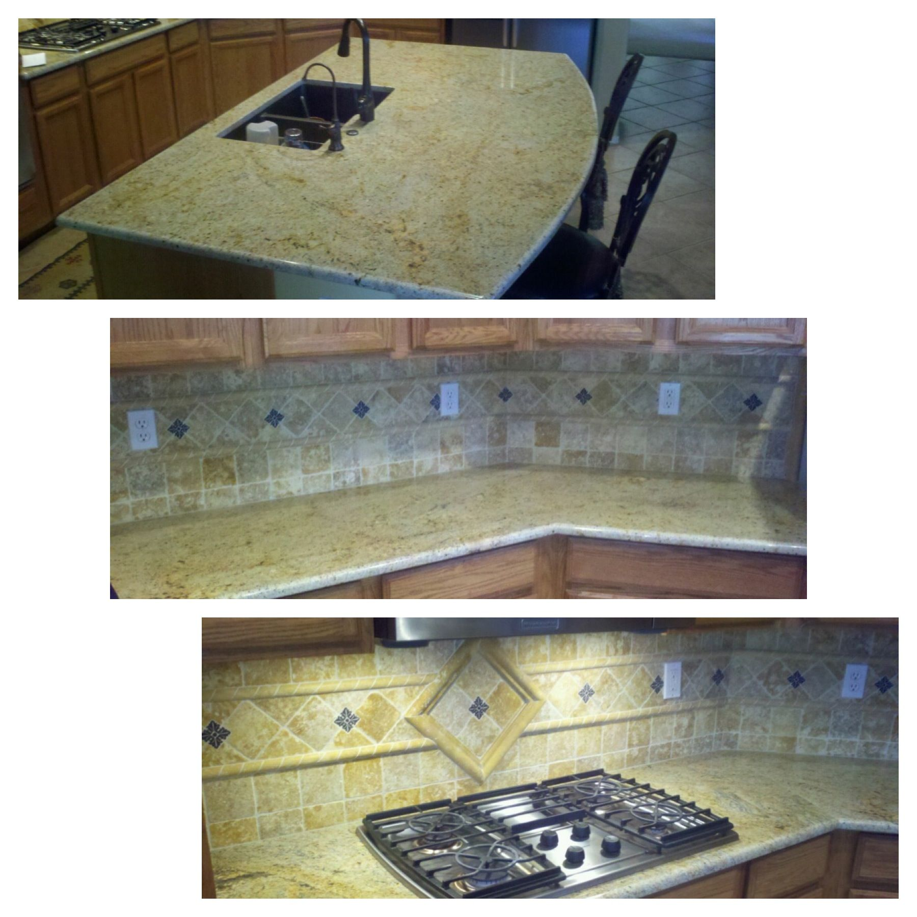 Kashmir Gold Granite Countertops Beautiful Kashmir Gold Granite And Tile Backsplash