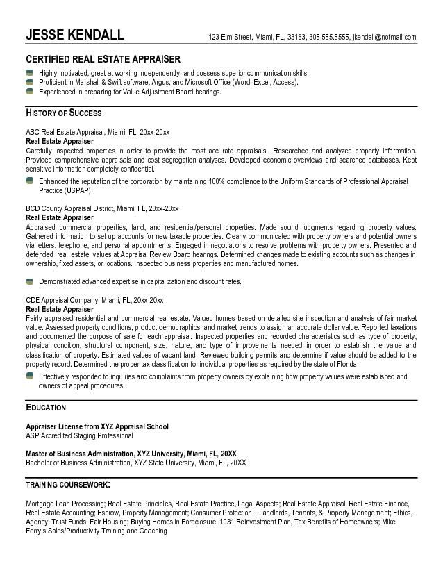 appraiser resume Example Real Estate Appraiser Resume - Free - real estate resume examples