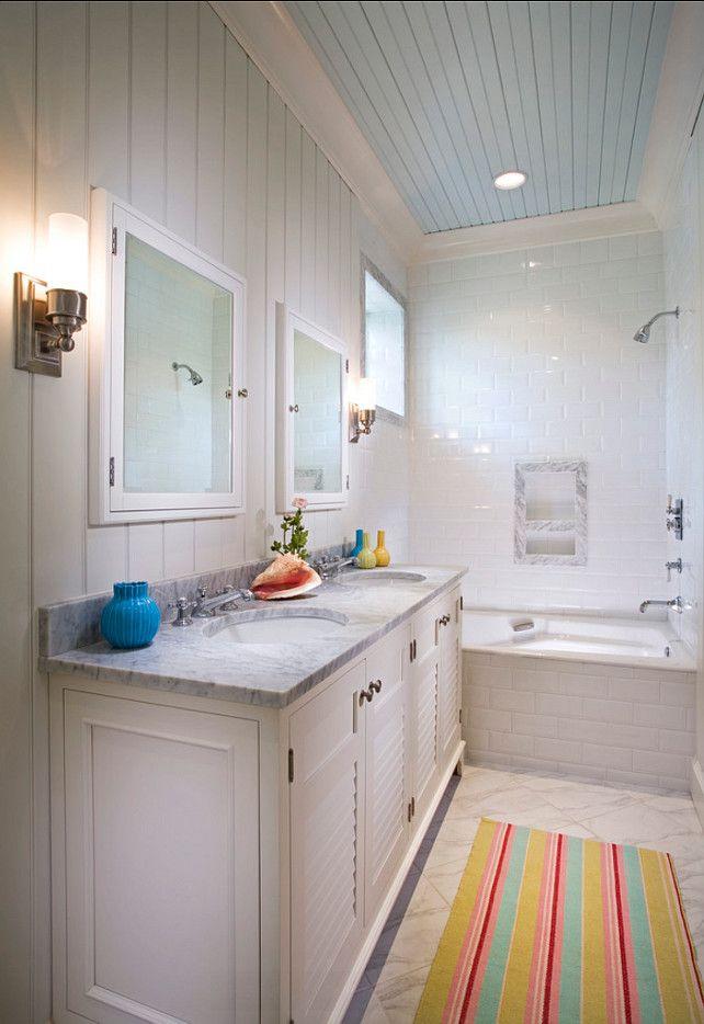 Bathroom Bathroom Ideas Coastal bathroom with painted blue - beadboard bathroom ideas