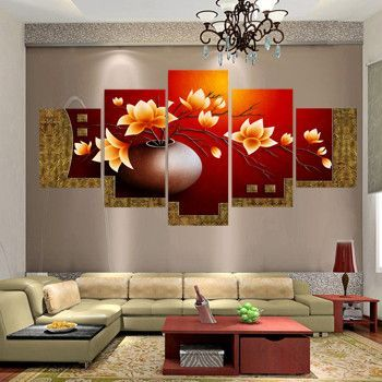 5 piece picture flower vase canvas art print oil painting wall - living room canvas art