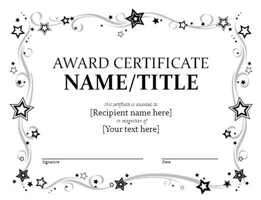 Certificate Template For Kids Free certificate templates - first place award template