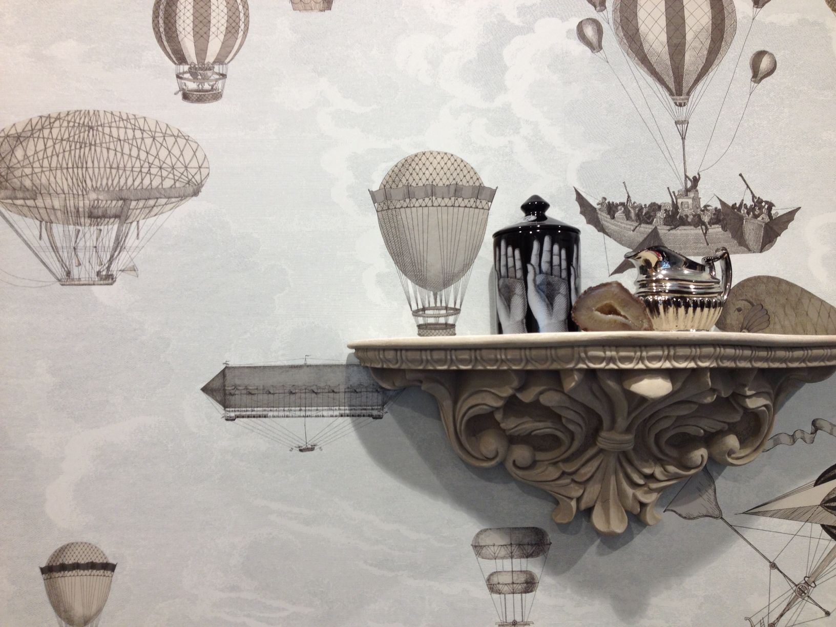 Fornasetti Face Wallpaper Fornasetti Ii Macchine Volanti In The Cole Son Showroom At