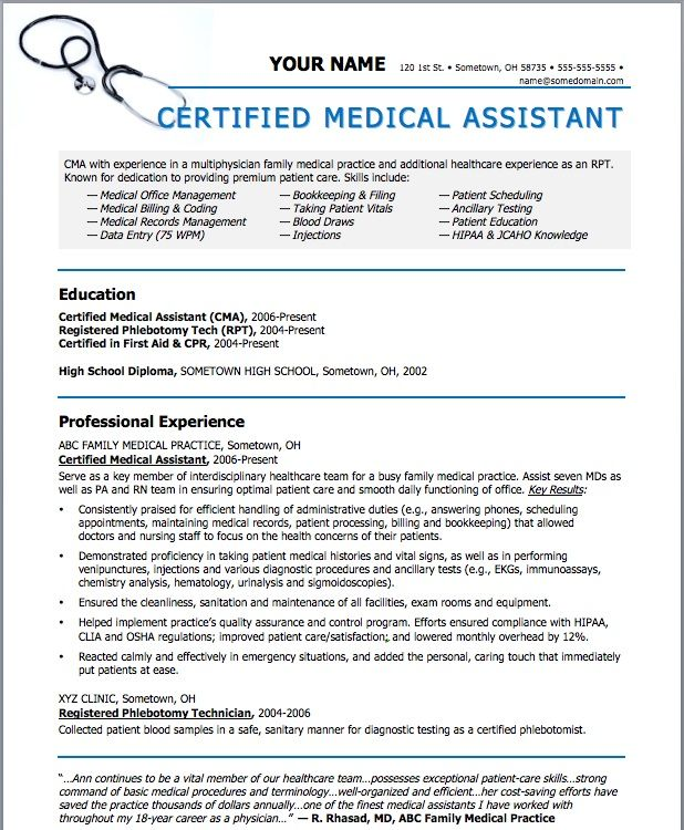 Medical Assistant Resume cakepins beauty Pinterest - medical assistant qualifications resume