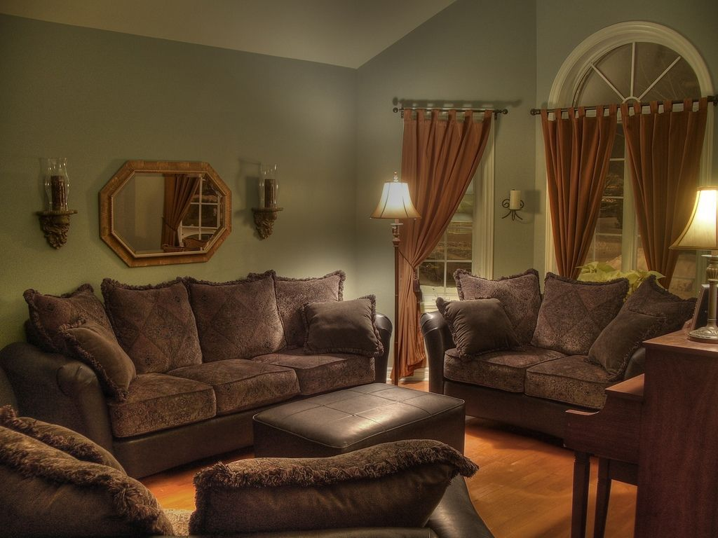 Room gray and white scheme color ideas for living room decorating with vintage dark brown sofa furniture