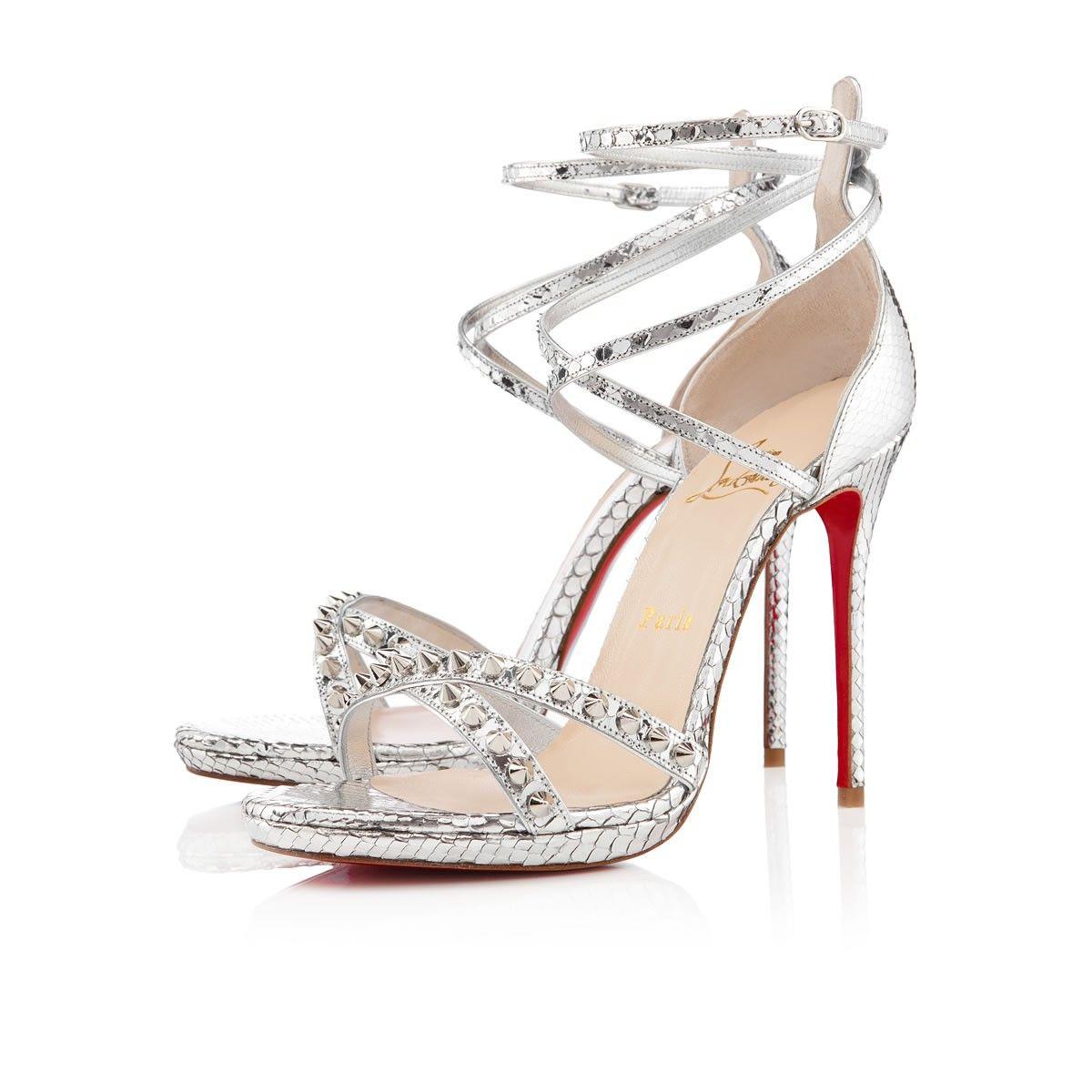 Christian louboutin womens monocronana 120mm silver python sandals