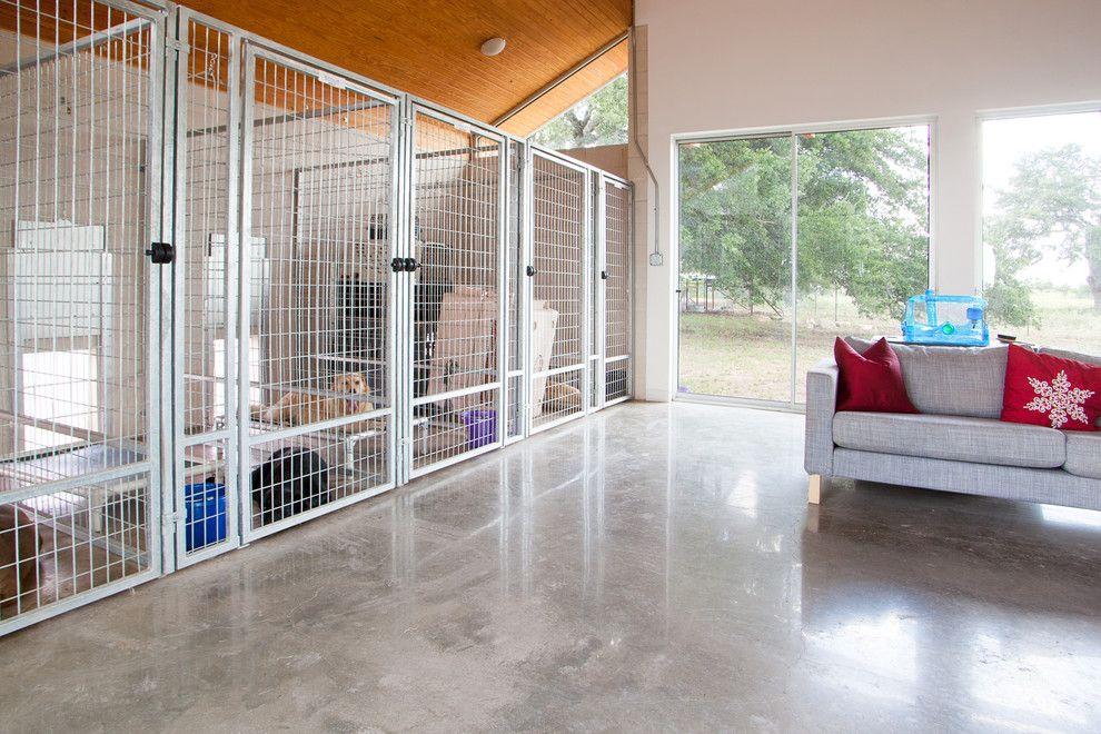 Chic indoor dog kennels in Modern Austin with Dog Door next to Dog - dog bedroom ideas