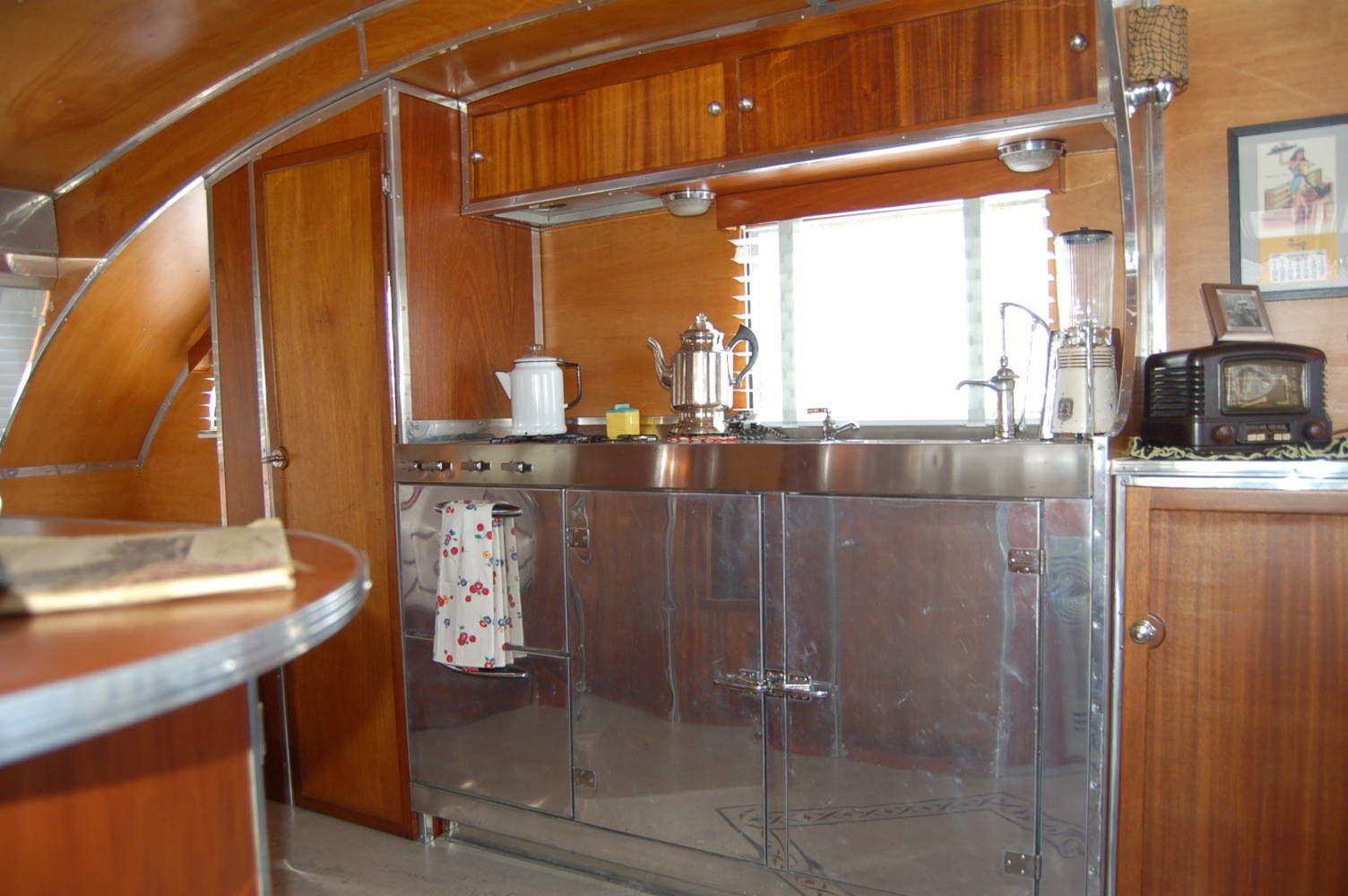 rv kitchen cabinets Areo flyte camper trailer stainless steel kitchen original