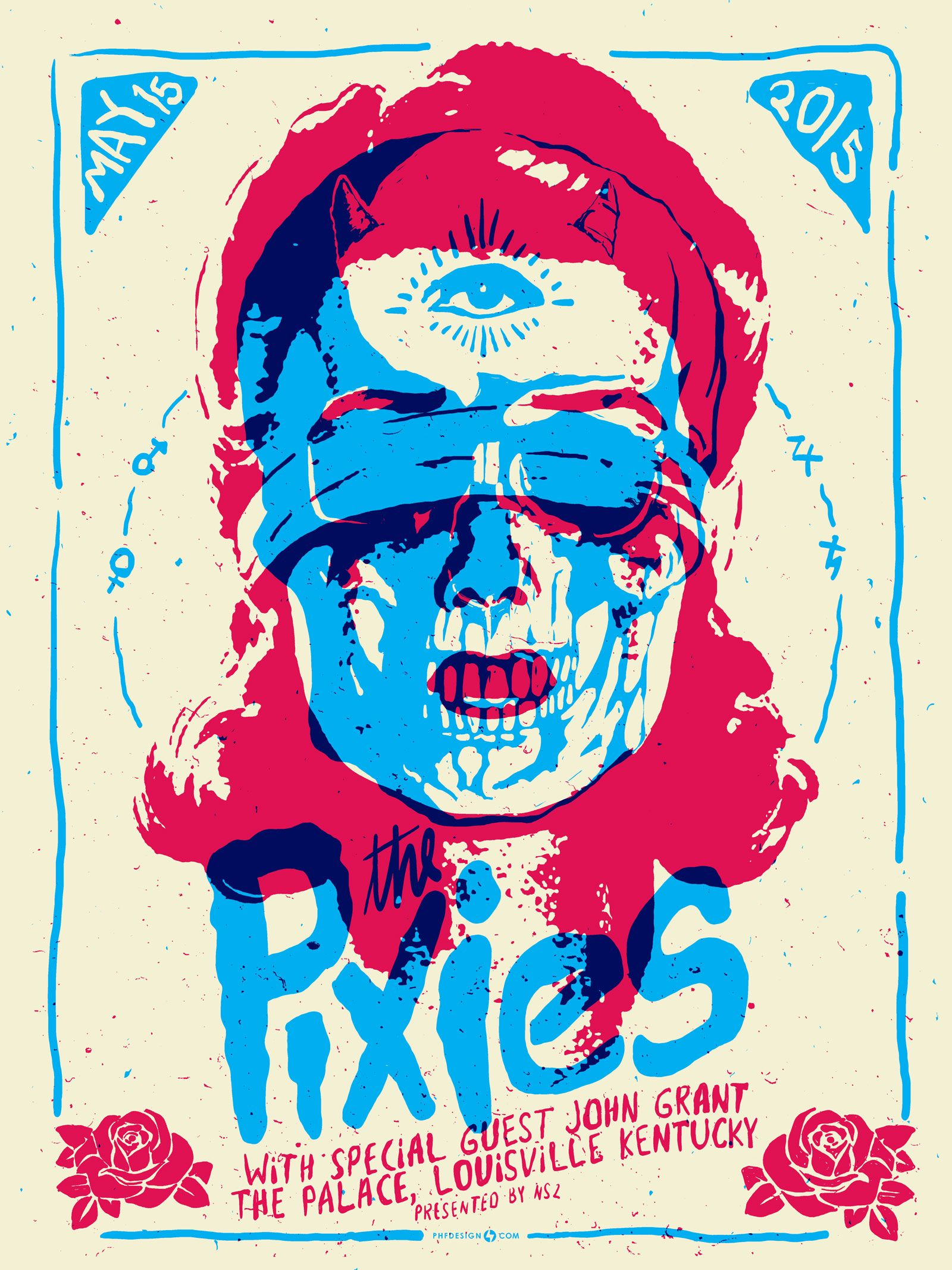 This 3 color poster was screen printed on heavy cream paper with acrylic inks for the