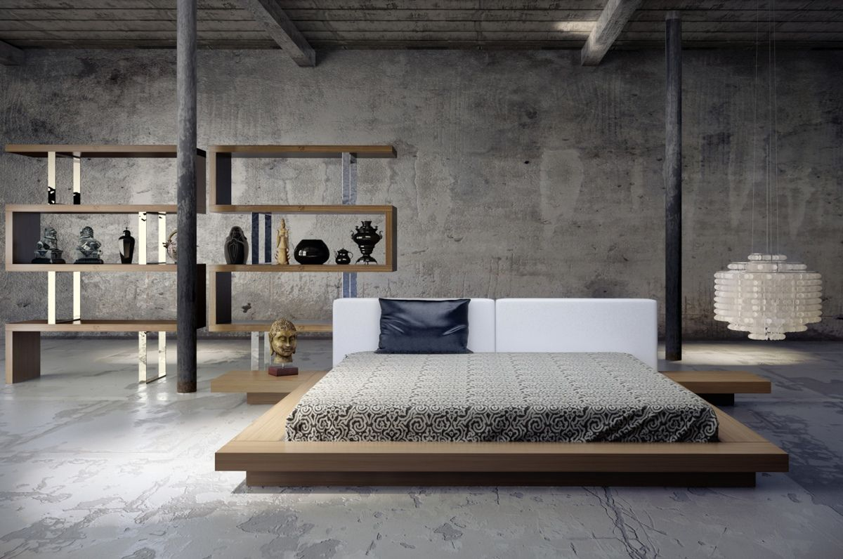 Low To The Ground Bed Frame In An Open Industrial Style Loft A Beautiful Bed Is Key