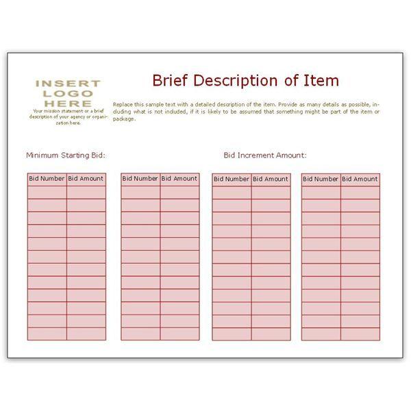 Bid Sheet Template Using Bidder Numbers fundraiser Pinterest - sample silent auction bid sheet